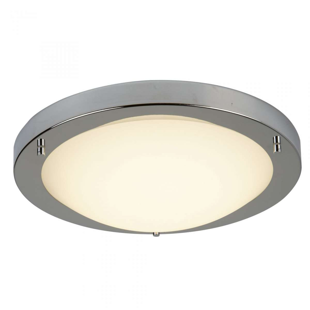 12W LED Flush Satin Silver Fitting with Opal Glass