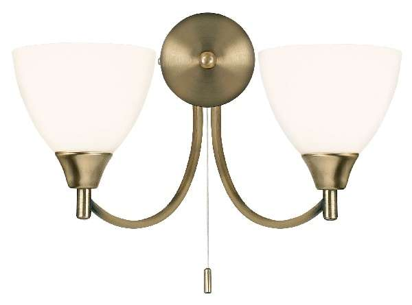2-Light Antique Brass Wall Bracket