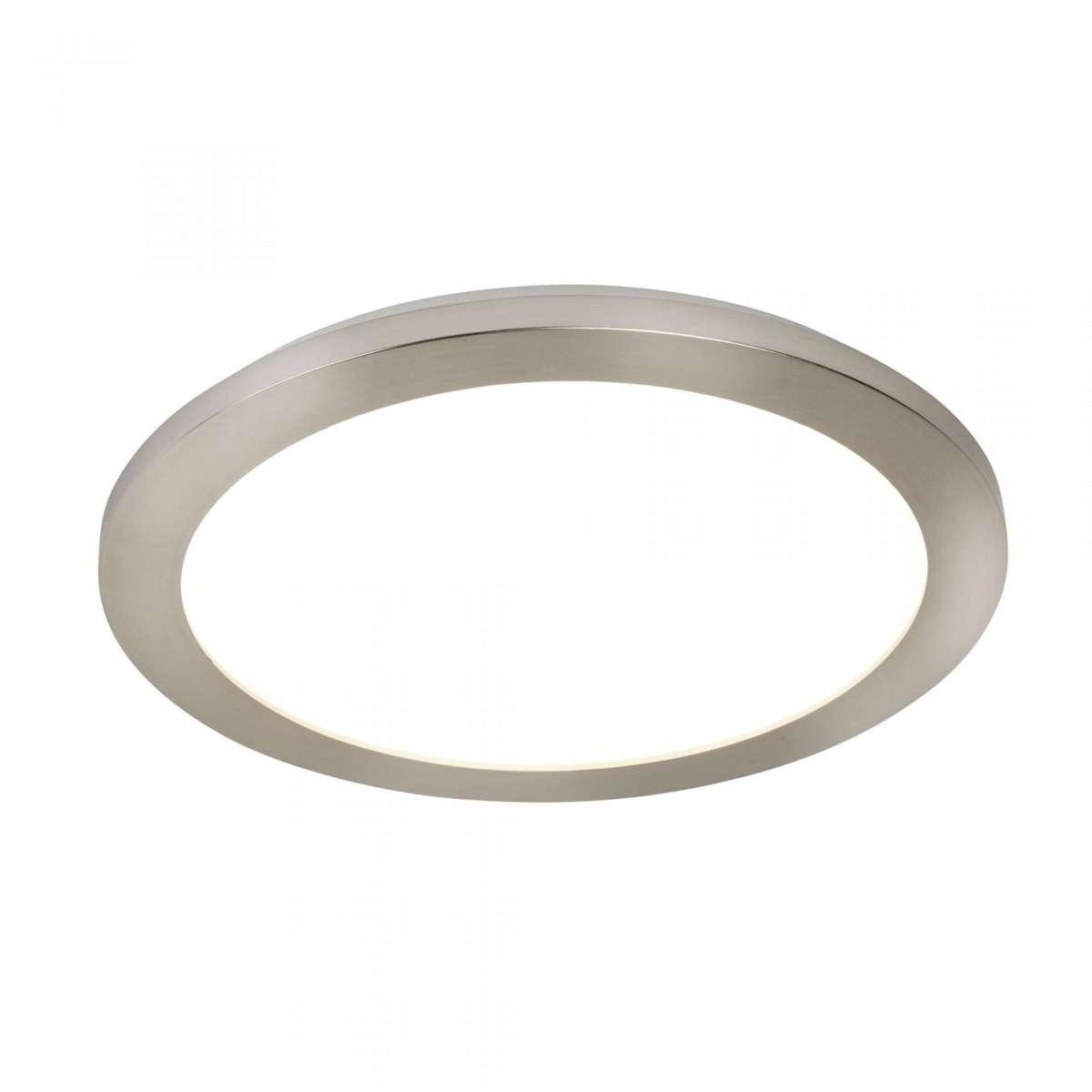 18W LED Flush 300mm Ceiling Light Satin Silver IP44