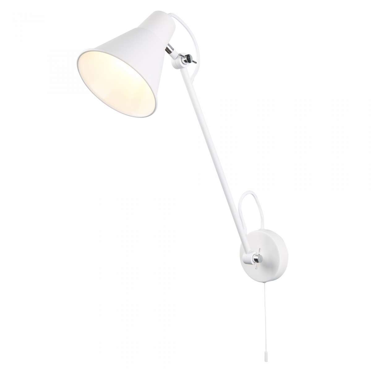 1 Light Adjustable Wall Bracket, Matt White, Chrome
