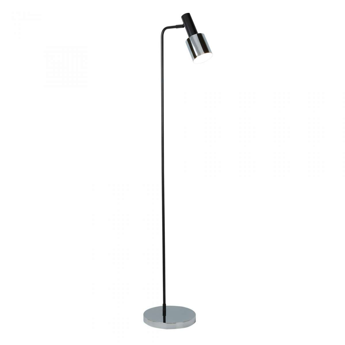 1 Light Floor Lamp, Black, Chrome