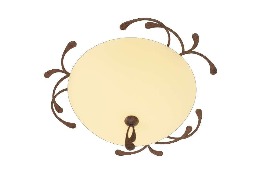 2 Light 40cm Brown Flush Fitting with Satin Amber Glass