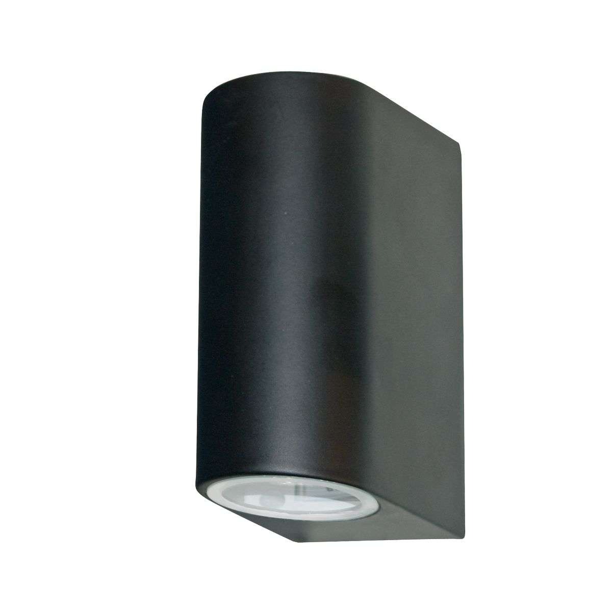 2 Light Black Outdoor Up & Down Light with Fixed Glass Lens