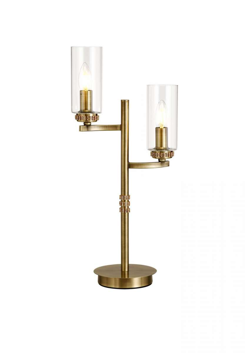 2 Light Crystal Antique Brass Table Lamp