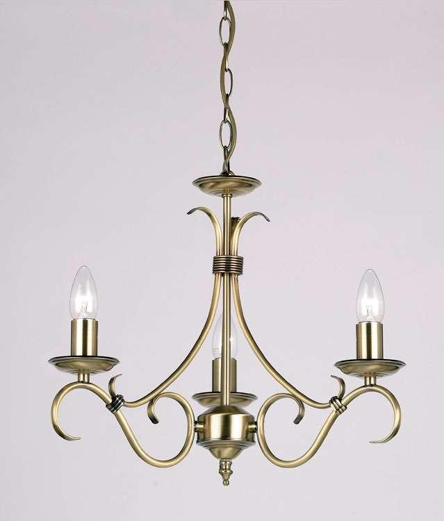 3-Light Antique Brass Fitting