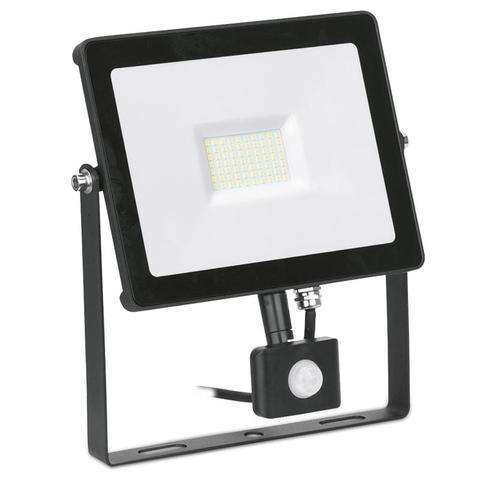 50W Adjustable IP65 Driverless PIR Floodlight 4000K Black