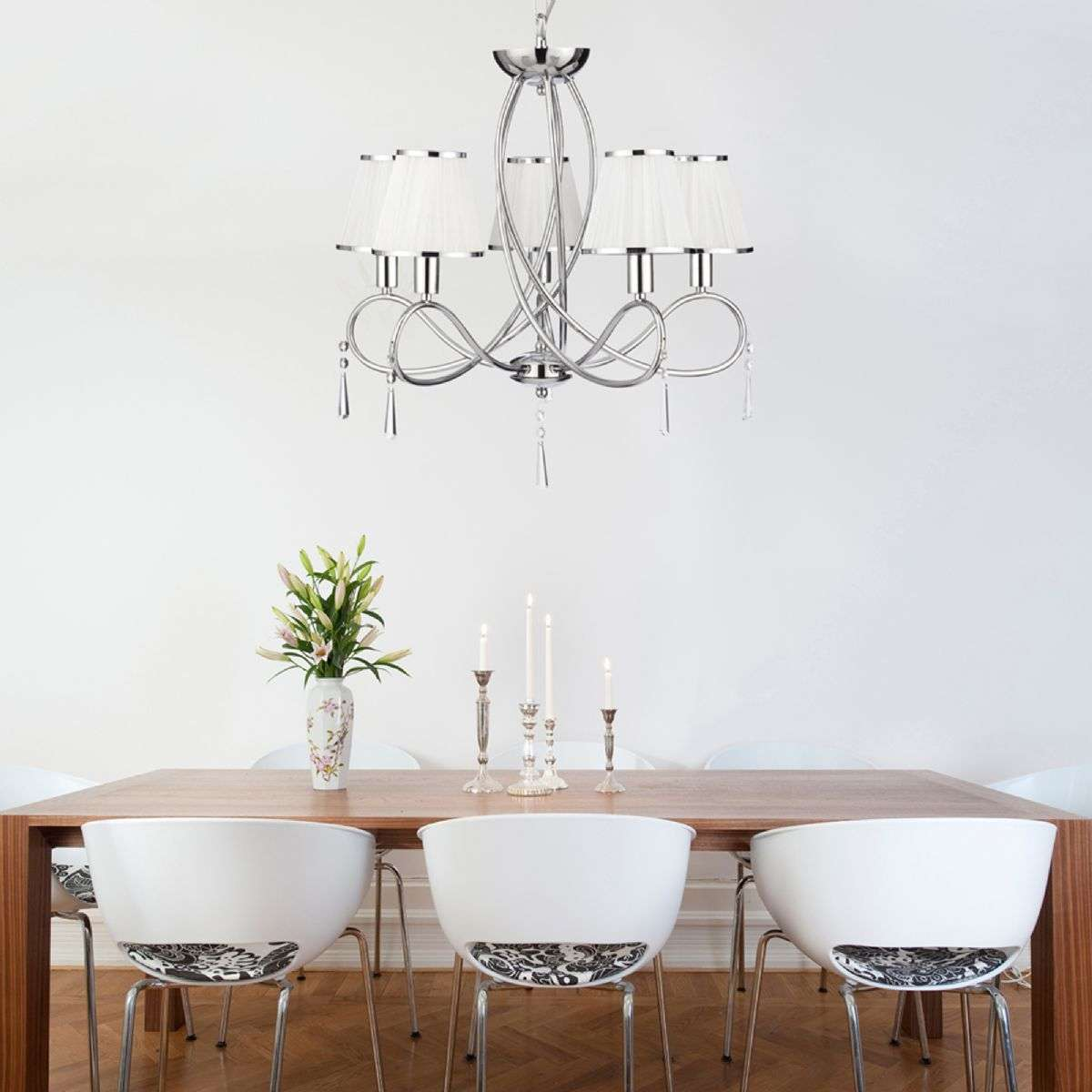 5 Light Ceiling Chrome Curved Frame White String Shades Clear Glass