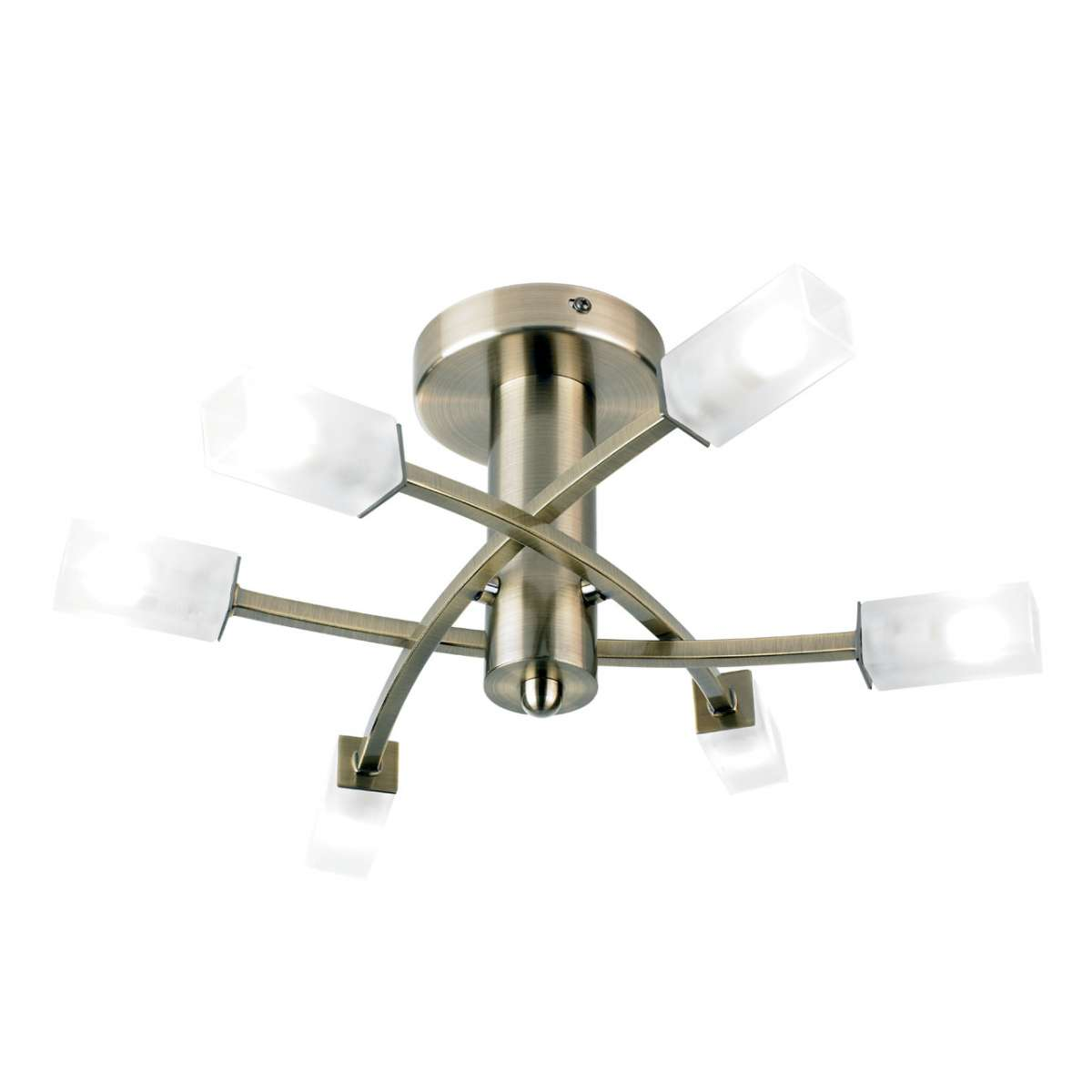6-Light Antique Brass Semi-Flush Fitting