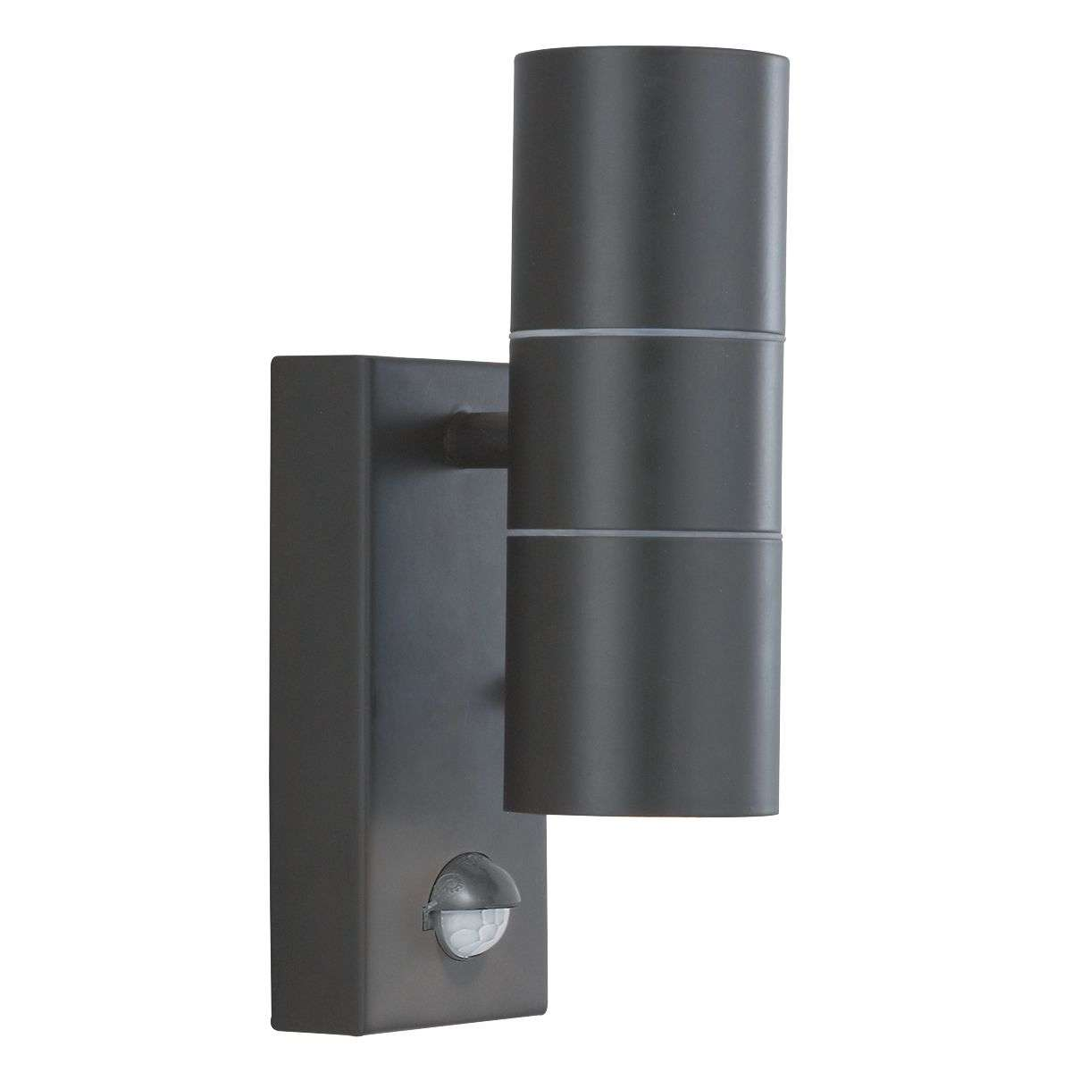 6W LED 2 Light Black Wall Light with Motion Sensor