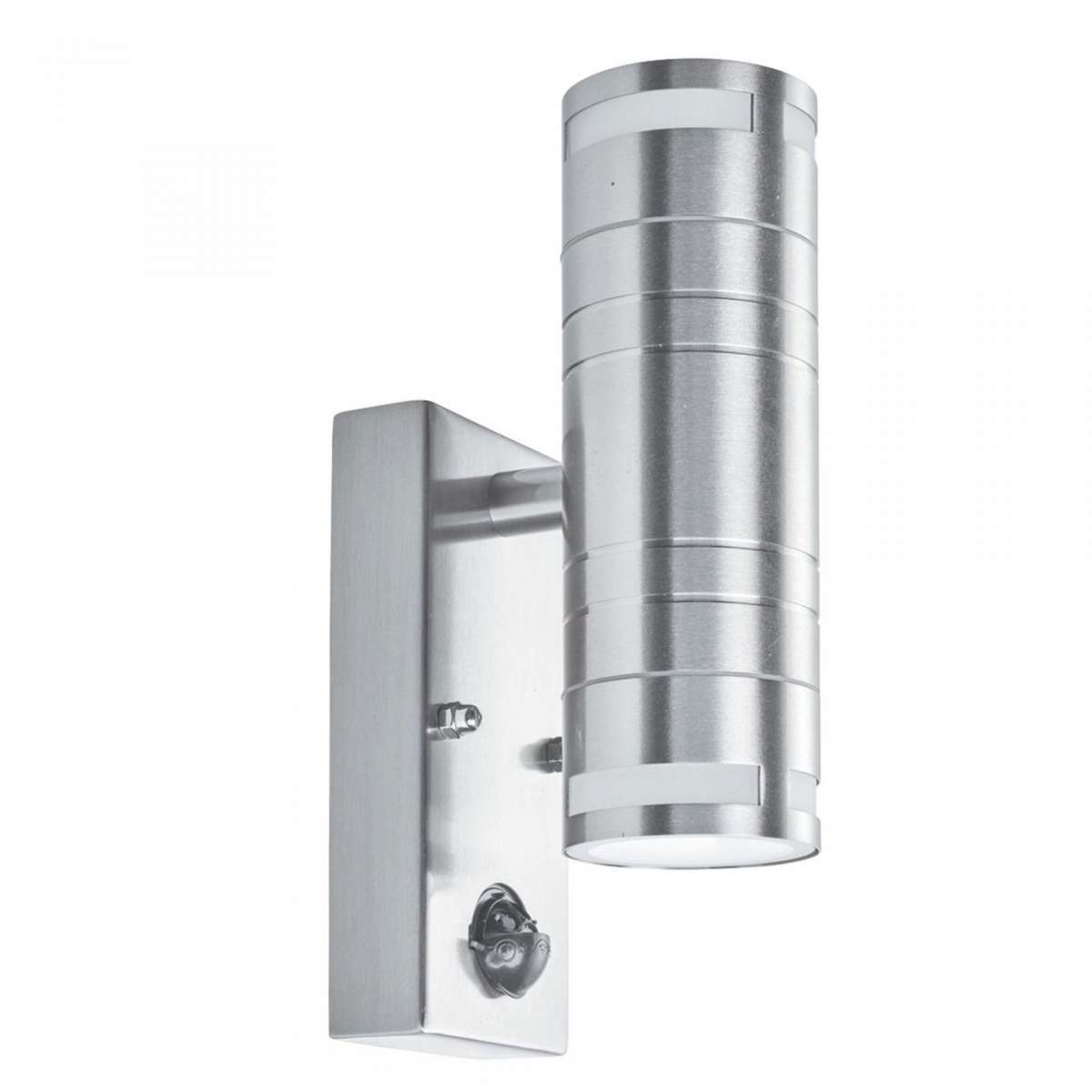6W LED PIR Stainless Steel 2 Light Wall Bracket Frosted Glass
