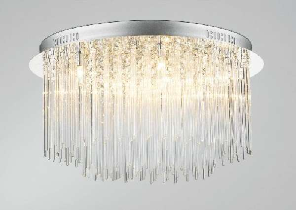 8-light chrome flush fitting with glass rod decoration