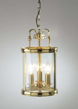 3-light polished brass dual mount  glass lantern