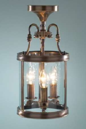 3-light antique brass dual mount  glass lantern