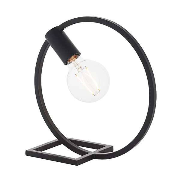 A Circle Shape Table Lamp in Matt Black