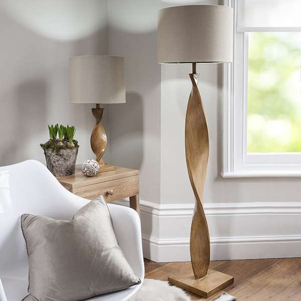 Abia Wooden Floor Lamp C/W Shade
