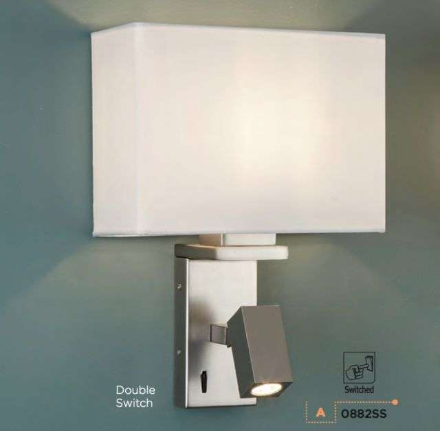 Adjustable Satin Silver Wall Light with LED Reading Light