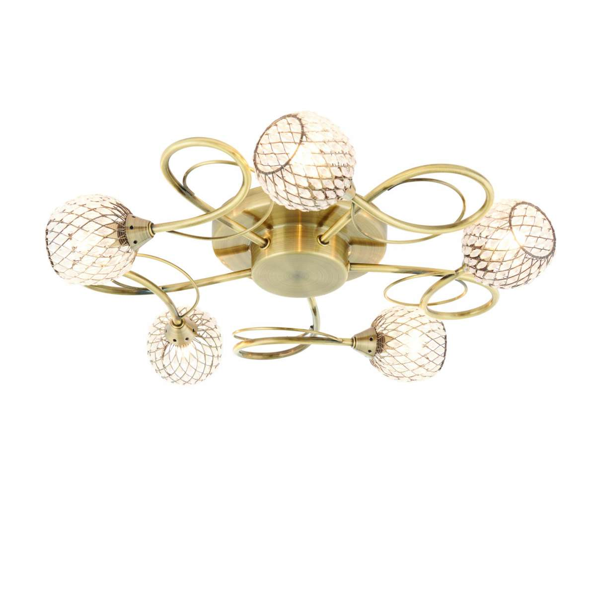 Aherne 5lt semi flush 33W Antique Brass