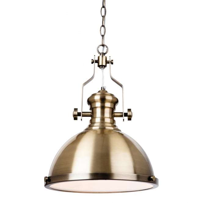 Albion Single Light Ceiling Pendant In Antique Brass Finish