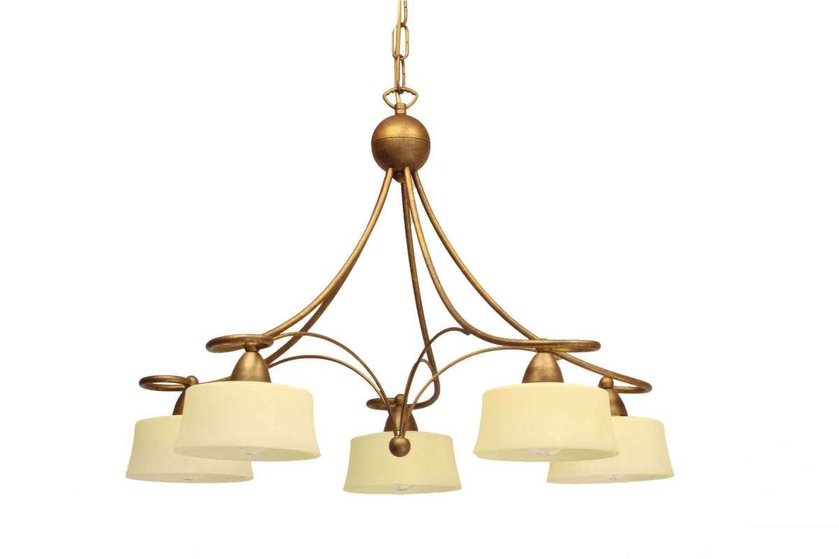 Alessa 5 Light Ceiling Light with Antique Cream Scavo Glass