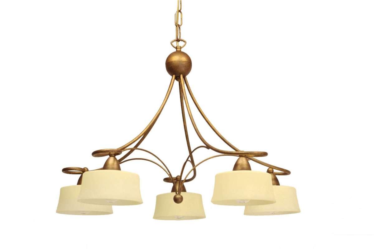 Alessa 5 Light Ceiling Light with Antique Cream Scavo Glass