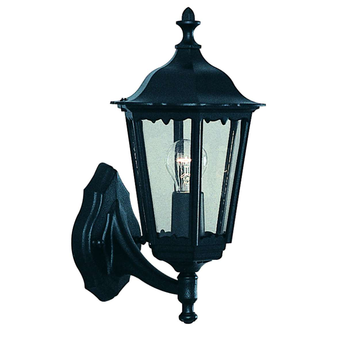 Alex Ip44 Black Outdoor Wall Light With Clear Glass