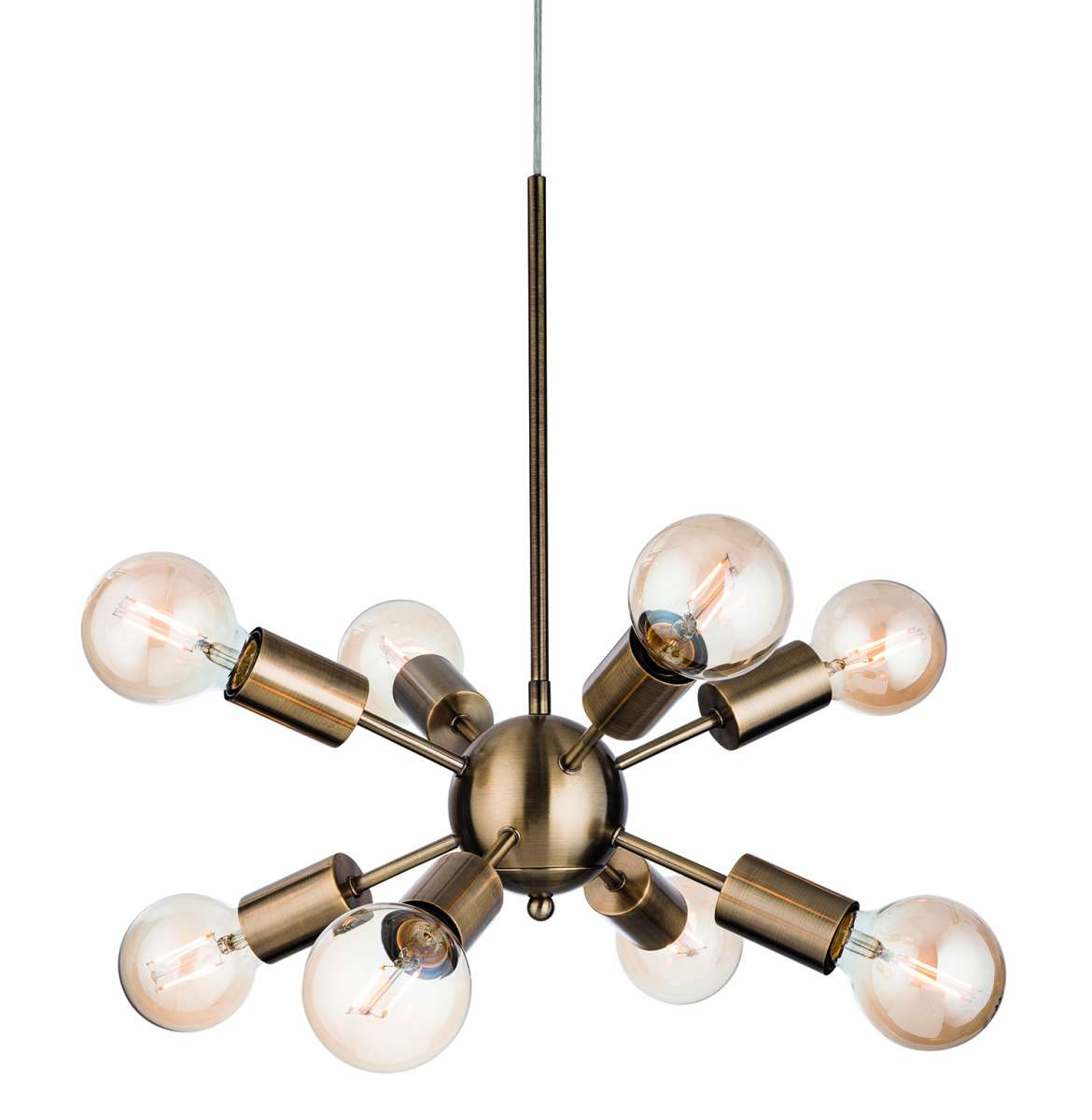 Alfa 8 Light Pendant in Antique Brass Finish