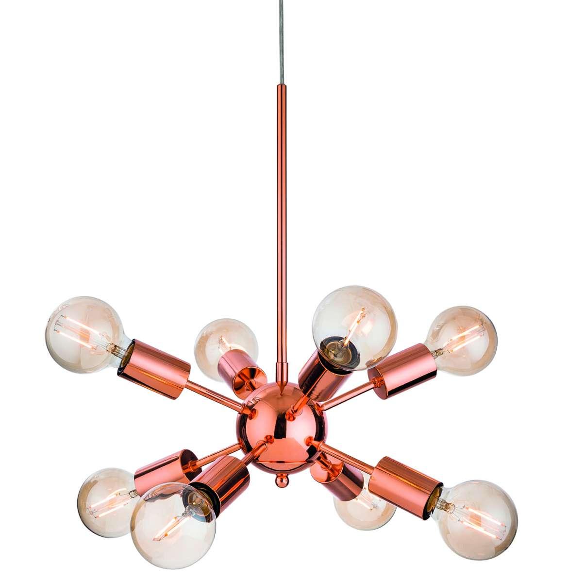 Alfa 8 Light Pendant in Copper Finish