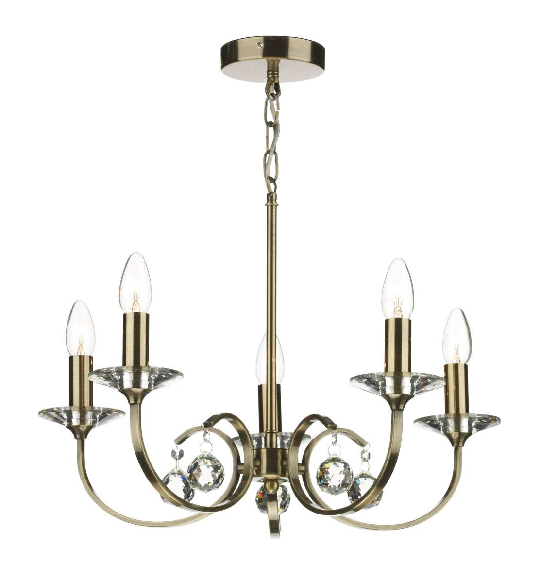 Dar Lighting All0575 Allegra 5 Light Antique Brass Fitting Online Lighting Shop