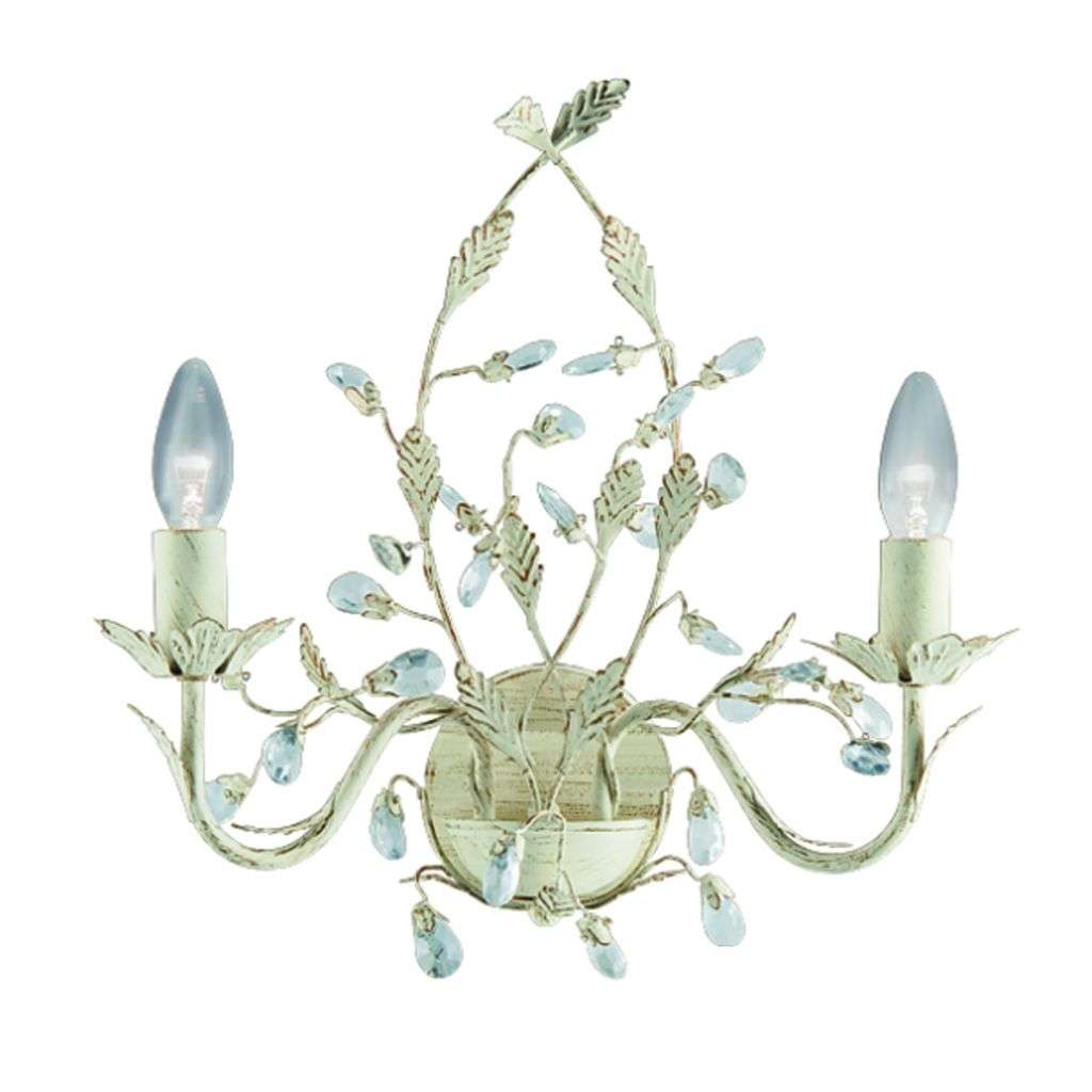 Almandite - 2 Light Wall Bracket, Cream Gold Finish With Leaf Dressing And Clear Crystal Deco