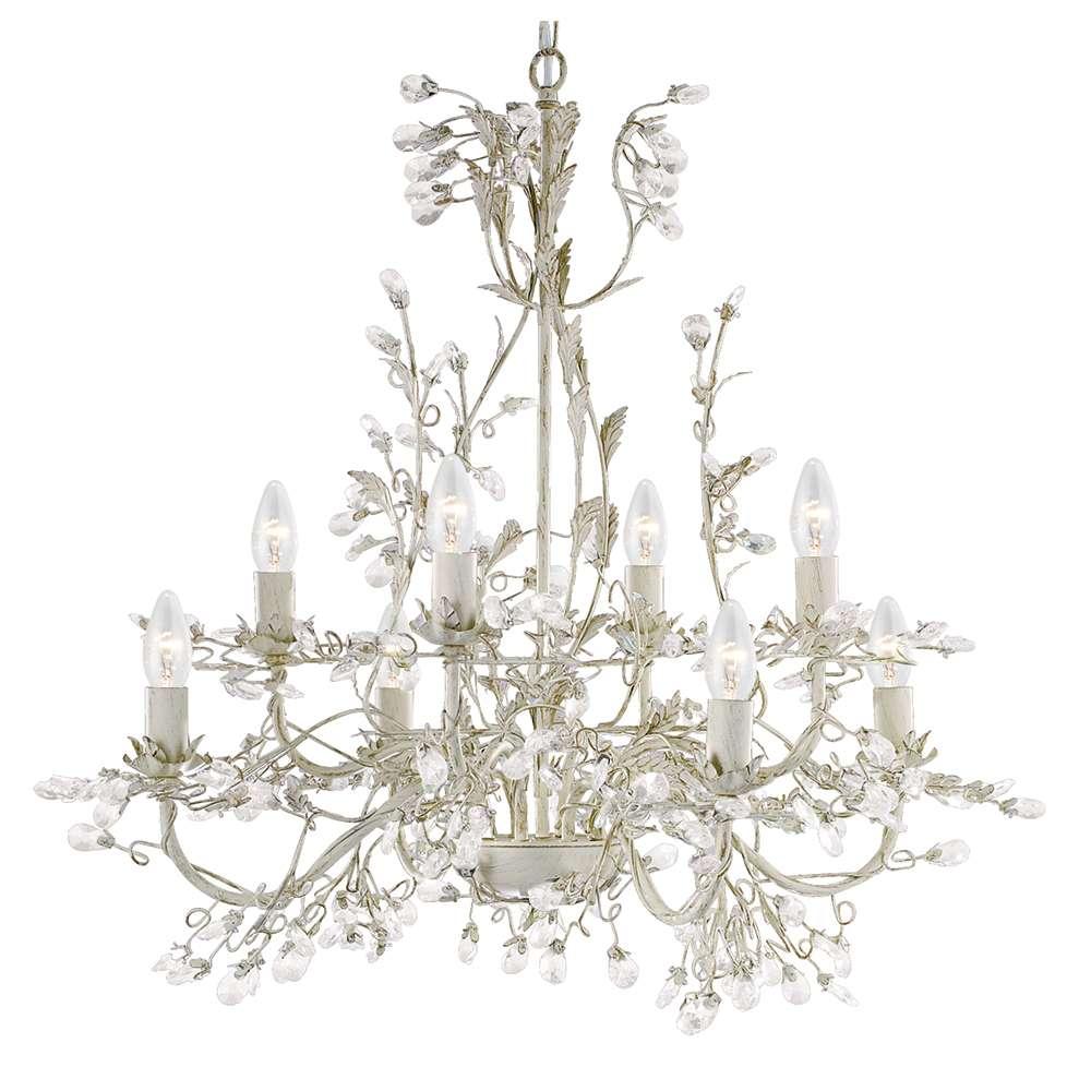 Almandite 8 Light Ceiling, Cream Gold With Leaf Dressing