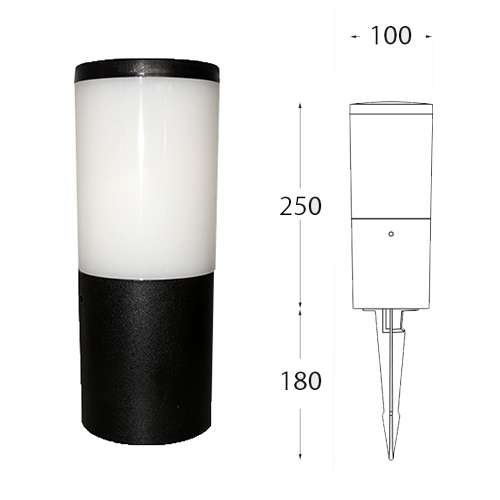 Amelia Blacky Opal Bollard Spike Light LED 6W