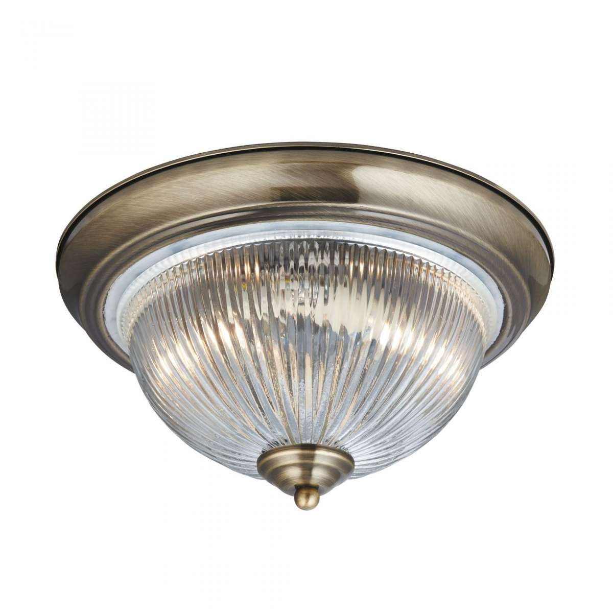 American Diner 2 Light Ip44 Ceiling Flush Antique Brass Acid Glass