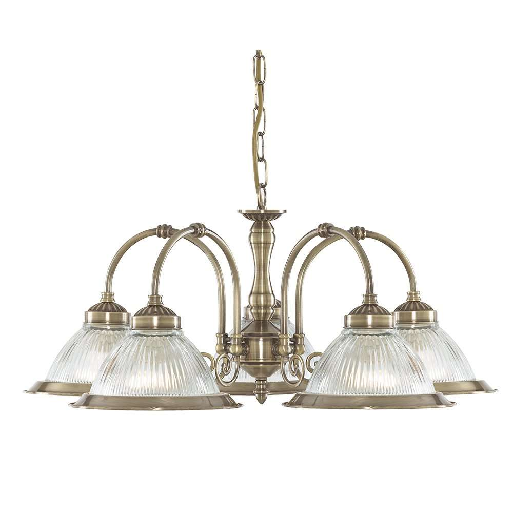 American Diner 5 Light Antique Brass Fitting