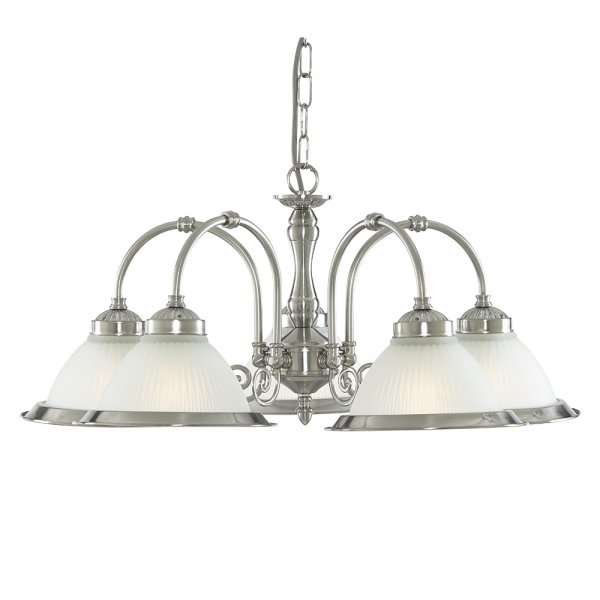 American Diner 5 Light Fitting Satin Silver Opaque Glass