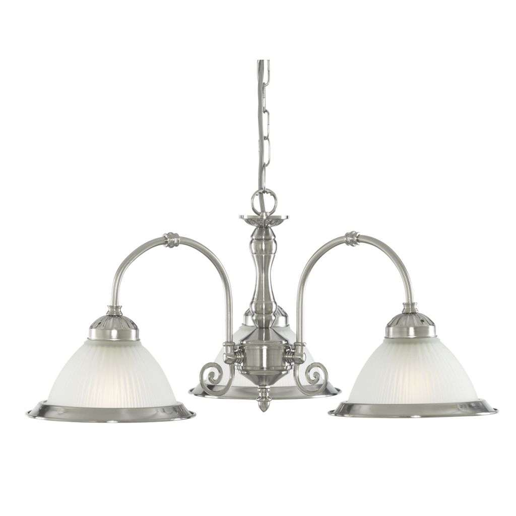 American Diner 3 Light Fitting Satin Silver Opaque Glass
