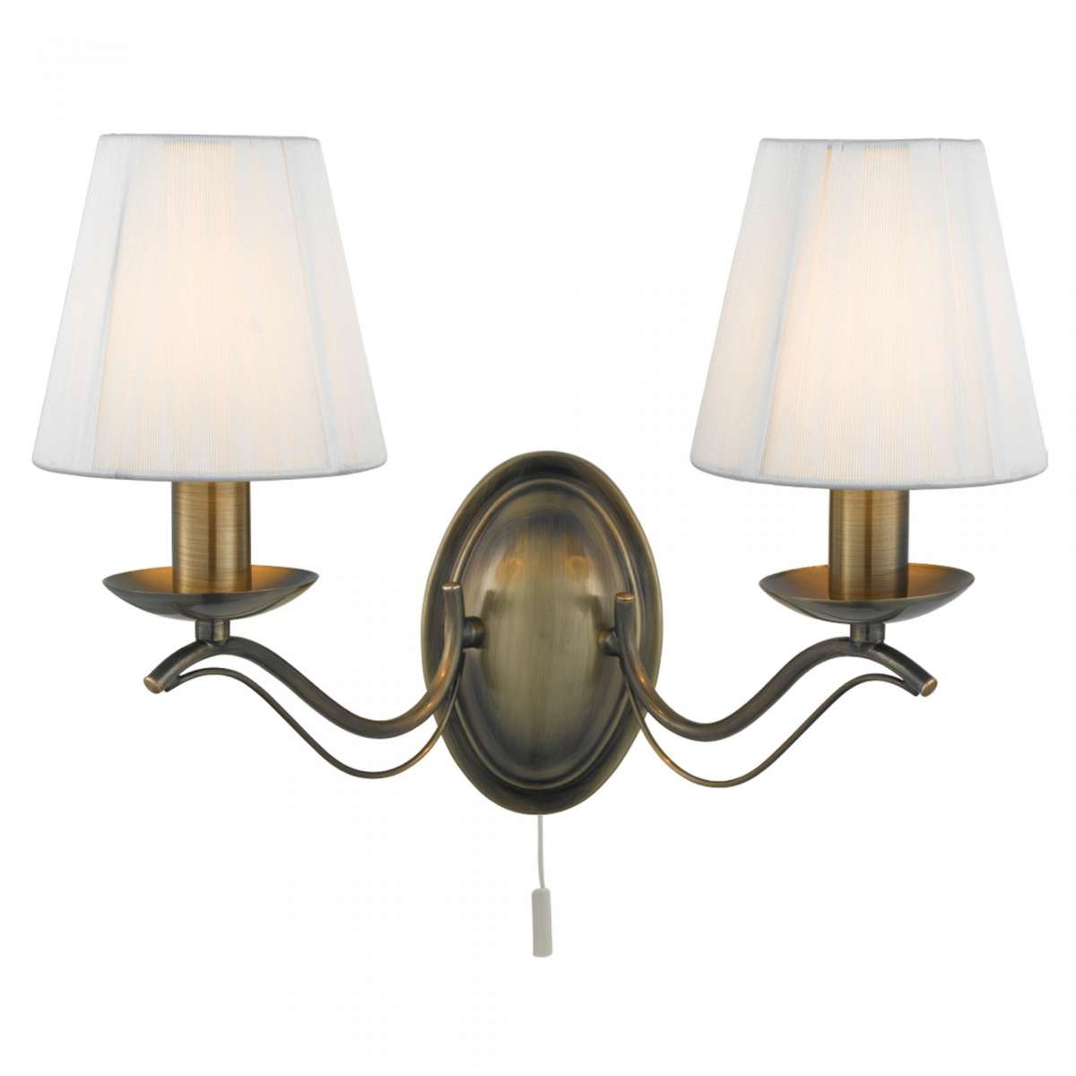 Andretti Antique Brass 2 Light Wall Light with Cream String Shades