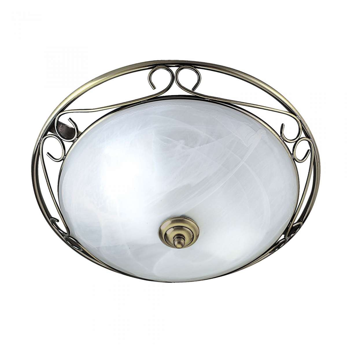 Antique Brass 370mm Flush Light with Marble Glass Diffuser
