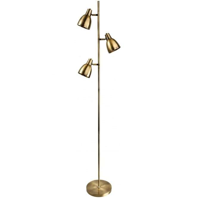 Antique Brass 3 Dome Reading Floor Lamp