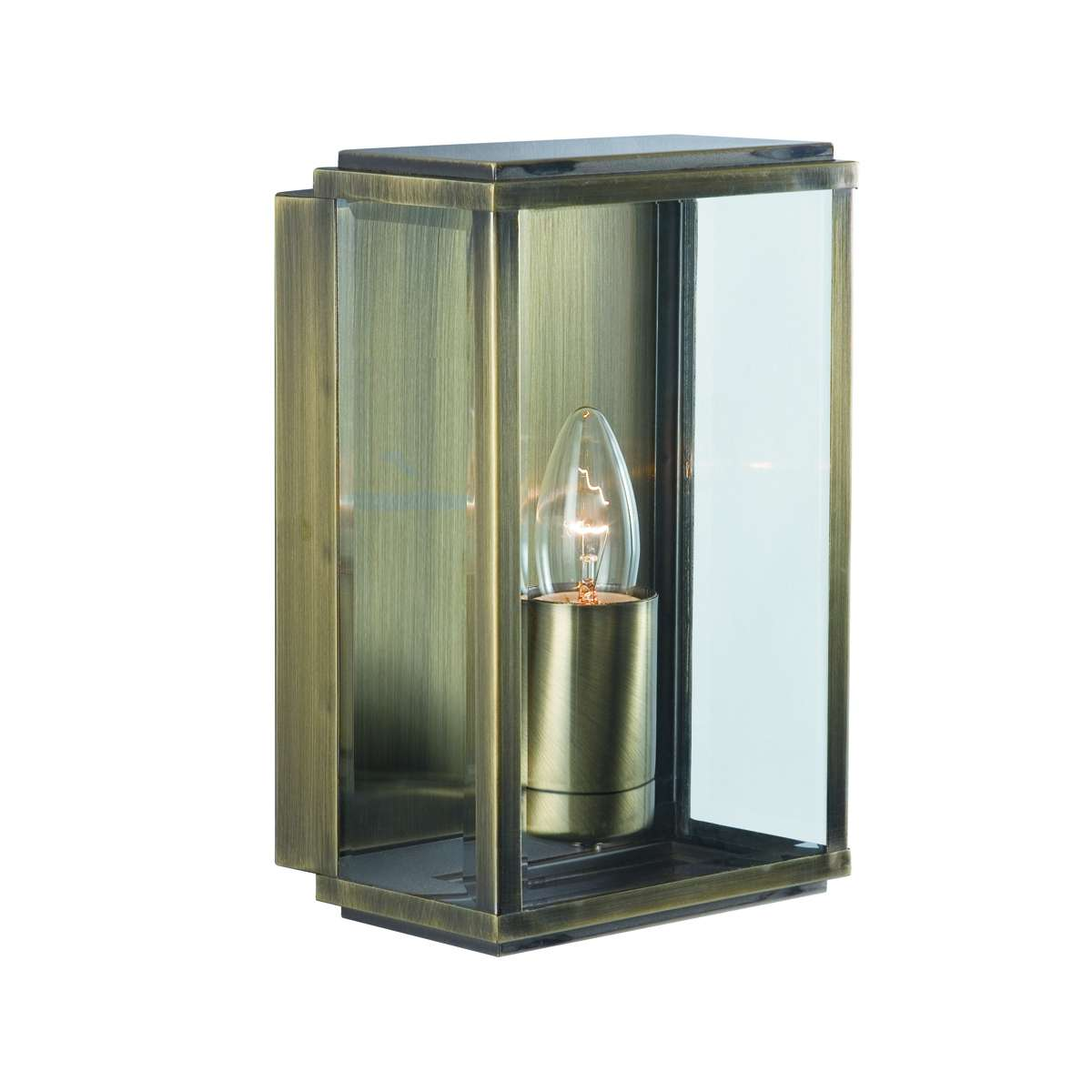 Antique Brass Ip44 Rectangular Outdoor Wall Lights(pack Of 6)*COPY*