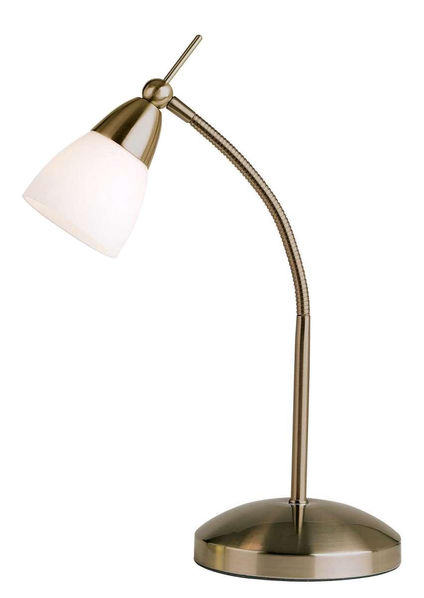 Antique Brass Touch Flexi Arm Desk Lamp