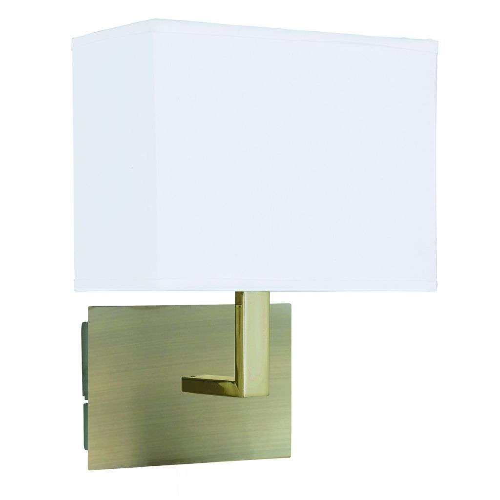 Antique Brass Wall Light with White Rectangular Fabric Shade
