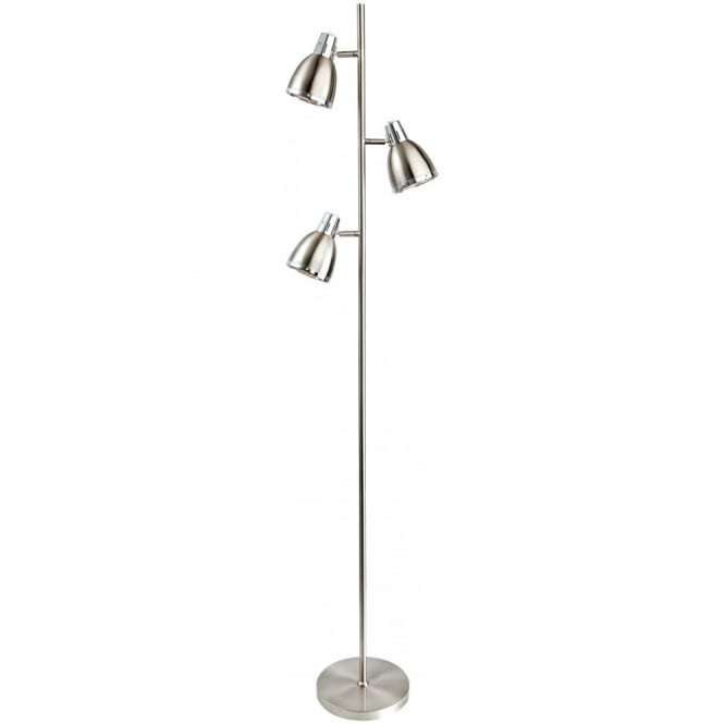 Antique Brushed Steel 3 Dome Reading Floor Lamp