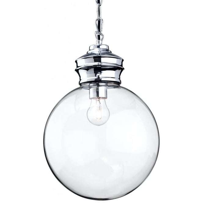 Antique Chrome Ceiling Glass Ball Pendant Light
