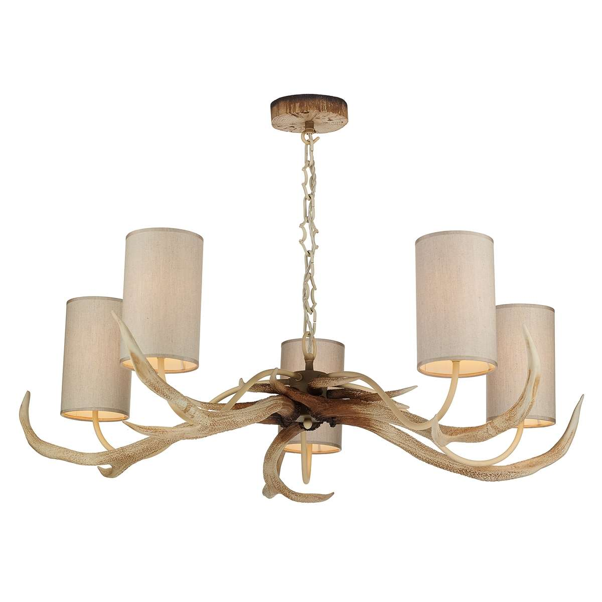 Antler 5 Light Bleached Fitting w/ Cream Fabric Shades