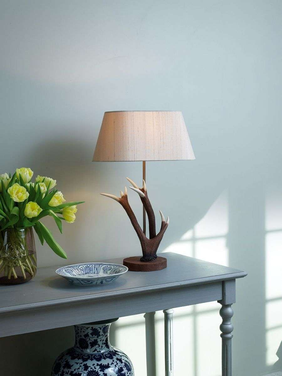 Antler Highland Rustic Small Table Lamp Complete With Shade