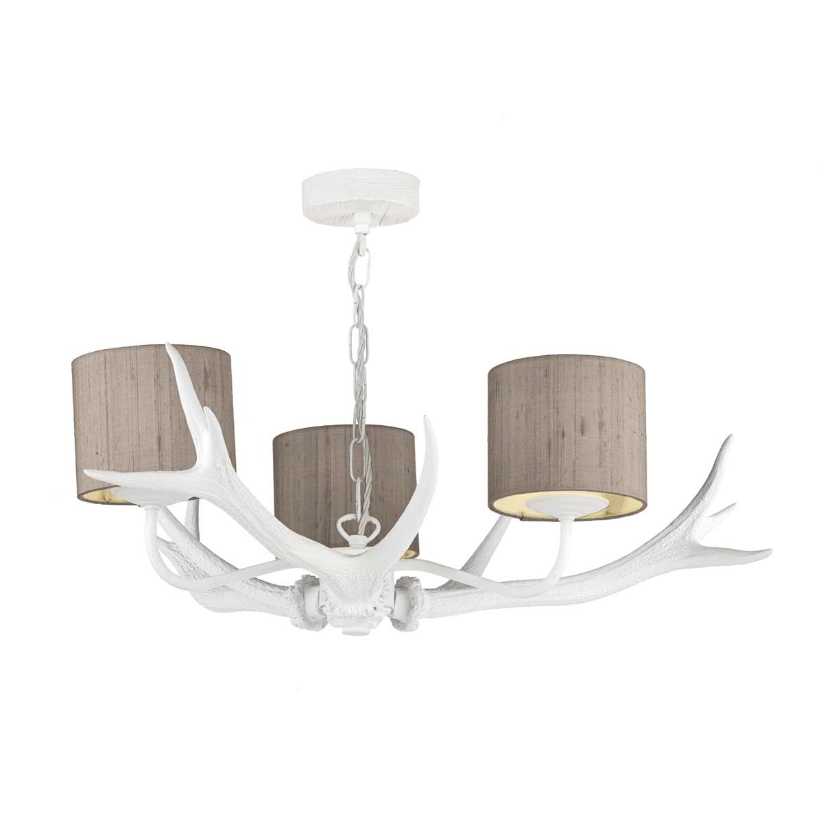 Antler White 3 Light Pendant with Bespoke Silk Shades