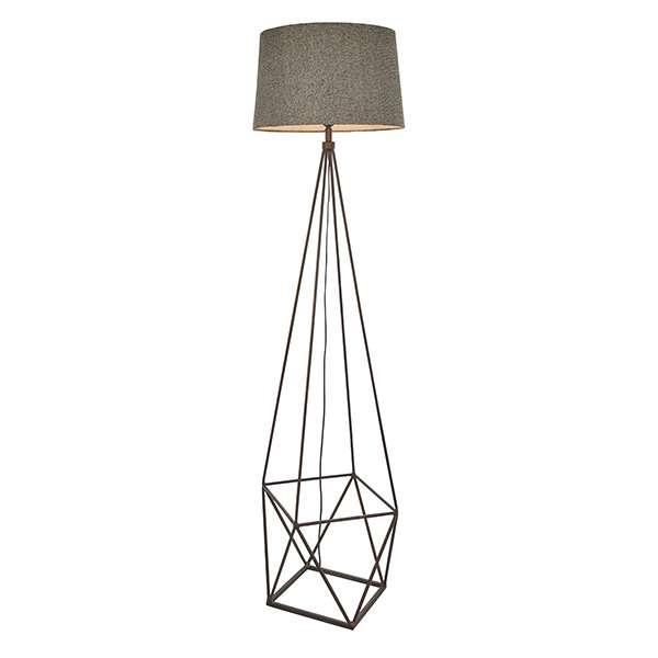 Apollo Floor Lamp in Grey & Aged Copper Finish C/W Shade
