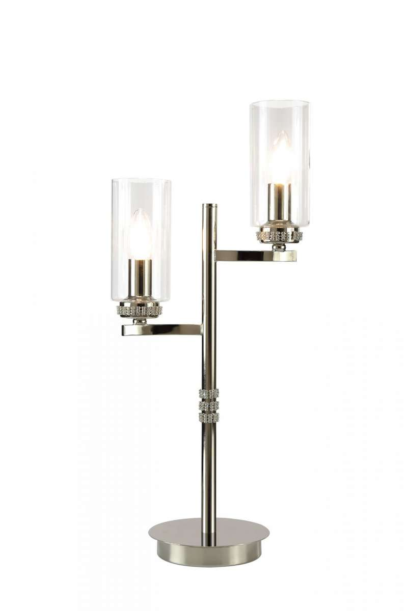 Ariel 2 Light Crystal Polished Nickel Table Lamp