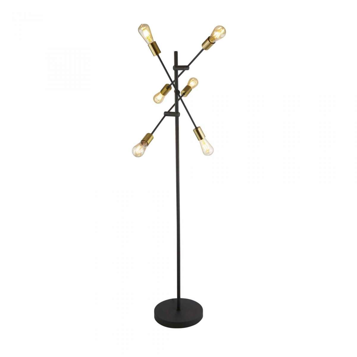Armstrong 6 Light Foor Lamp Black And Satin Brass