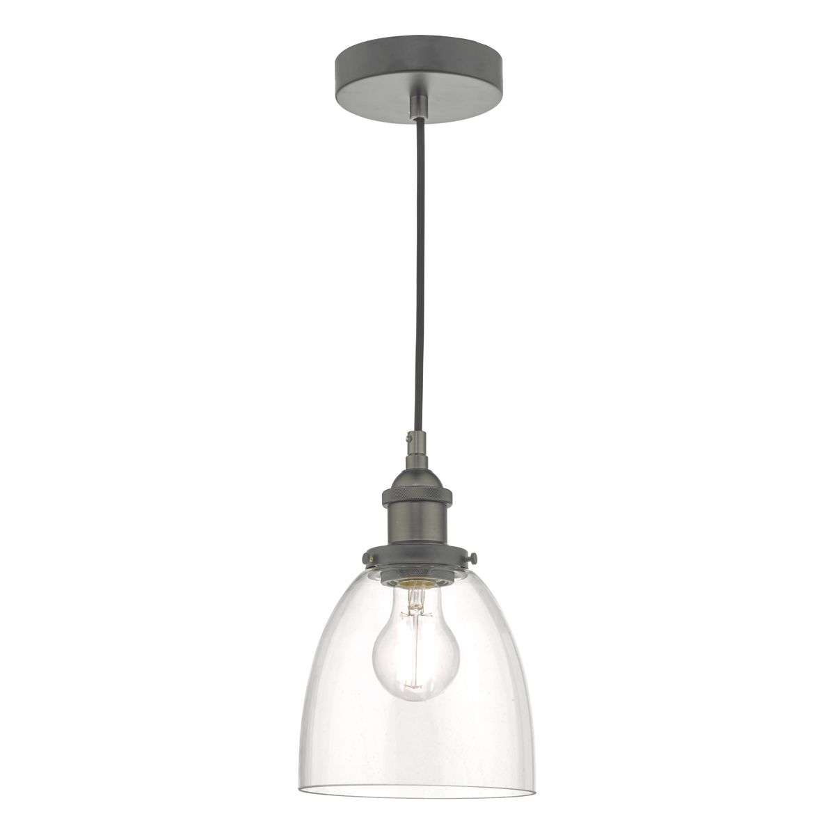 Arvin Single Pendant in Antique Chrome & Glass